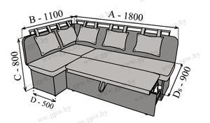 """Схема кухонного уголка со спальным местом """"Стрит СП"""""""